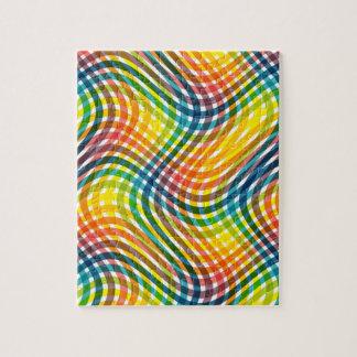 鮮やかな虹の歪んだ格子縞パターン ジグソーパズル