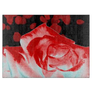 鮮やかな赤いバラのガラスまな板 カッティングボード
