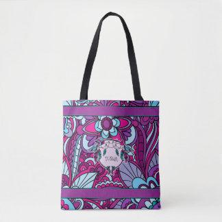 鮮やかな青および紫色、Boho トートバッグ