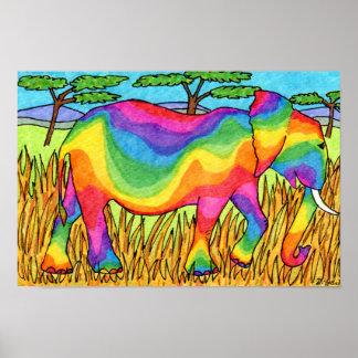 鮮やかなSerengetiの虹象の民芸 ポスター