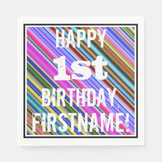 鮮やか、カラフルの第1誕生日 + 名前をカスタムする スタンダードランチョンナプキン