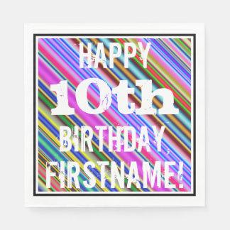 鮮やか、カラフルの第10誕生日 + 名前をカスタムする スタンダードランチョンナプキン