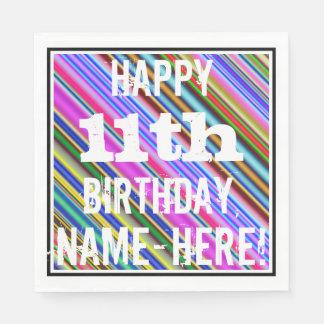 鮮やか、カラフルの第11誕生日 + 名前をカスタムする スタンダードランチョンナプキン