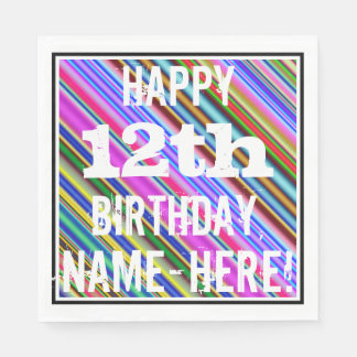 鮮やか、カラフルの第12誕生日 + 名前をカスタムする スタンダードランチョンナプキン