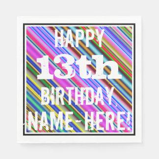 鮮やか、カラフルの第13誕生日 + 名前をカスタムする スタンダードランチョンナプキン