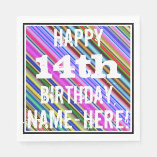 鮮やか、カラフルの第14誕生日 + 名前をカスタムする スタンダードランチョンナプキン