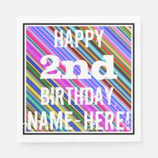 鮮やか、カラフルの第2誕生日 + 名前をカスタムする スタンダードランチョンナプキン