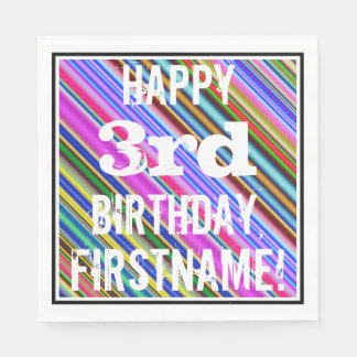鮮やか、カラフルの第3誕生日 + 名前をカスタムする スタンダードランチョンナプキン