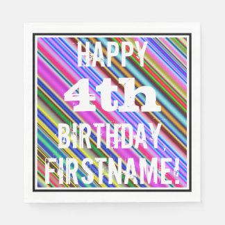 鮮やか、カラフルの第4誕生日 + 名前をカスタムする スタンダードランチョンナプキン
