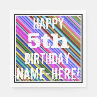 鮮やか、カラフルの第5誕生日 + 名前をカスタムする スタンダードランチョンナプキン