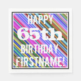 鮮やか、カラフルの第65誕生日 + 名前をカスタムする スタンダードランチョンナプキン