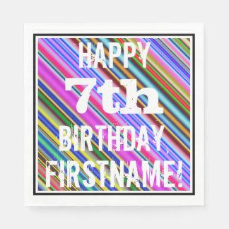 鮮やか、カラフルの第7誕生日 + 名前をカスタムする スタンダードランチョンナプキン