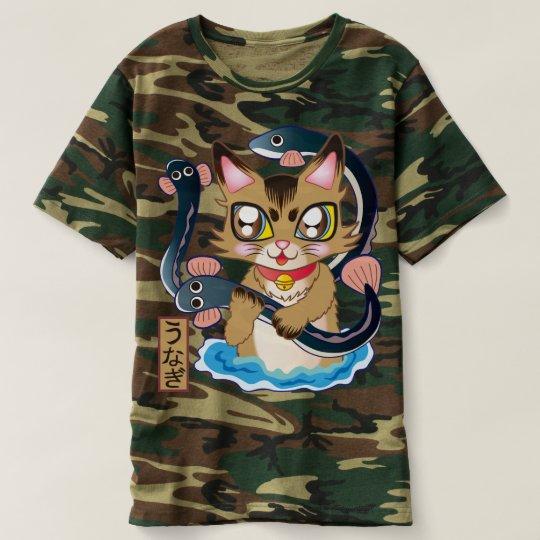 鰻をつかみ取りする猫ちゃん♪ Tシャツ