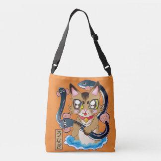鰻のつかみ取りをする猫ちゃん♪-Somali cat クロスボディバッグ