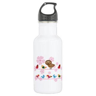 鳥およびさくらんぼの花 ウォーターボトル