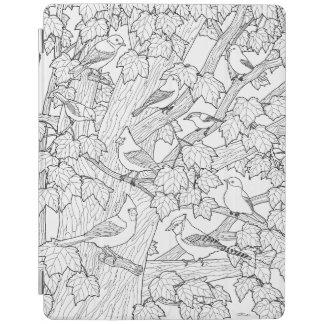 鳥およびカエデの木の大人の着色のページ iPadスマートカバー
