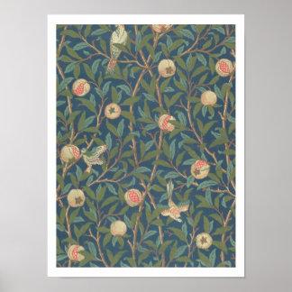 「鳥およびザクロ」の壁紙のデザイン、印刷されたb ポスター