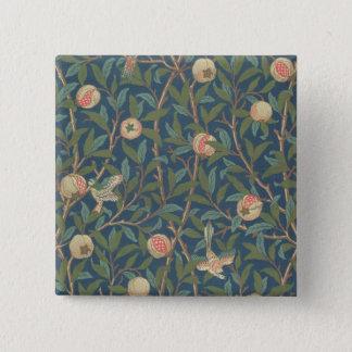 「鳥およびザクロ」の壁紙のデザイン、印刷されたb 5.1cm 正方形バッジ