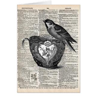 鳥およびティーカップ カード