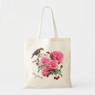 鳥およびバラのBohoの名前入りなギフトバッグ トートバッグ