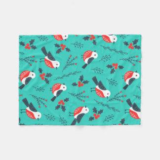 鳥およびヒイラギの果実のクリスマスパターン フリースブランケット