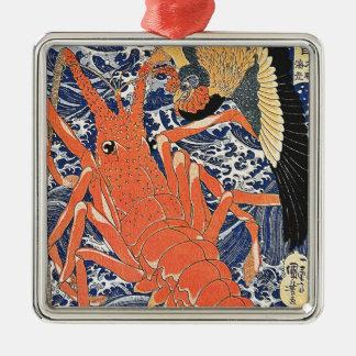 鳥およびロブスターの日本人のWoodblockの芸術Ukiyo-E メタルオーナメント