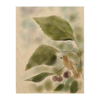 鳥および果実が付いている木製のプリントの庭 ウッドウォールアート