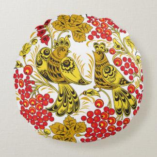 鳥および果実 ラウンドクッション