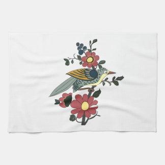 鳥および花が付いている台所タオル キッチンタオル
