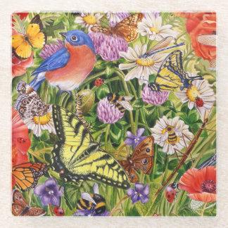鳥および蝶ガラスのコースター ガラスコースター