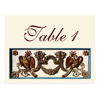 鳥および貝の結婚披露宴のテーブル数 ポストカード