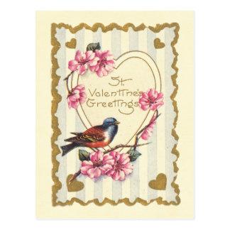 鳥および開花Stのバレンタインの挨拶 ポストカード