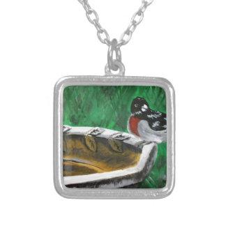 鳥およびbirdbath シルバープレートネックレス