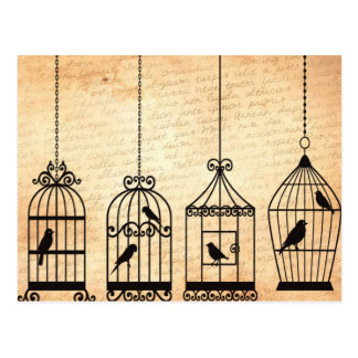 鳥かごのシルエット ポストカード