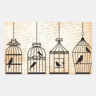 鳥かごのシルエット 長方形シール
