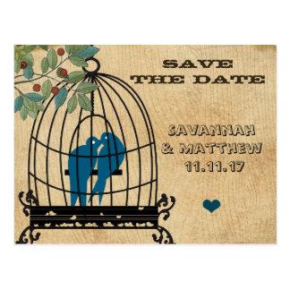 鳥かごの保存木製の穀物の郵便はがきの日付 ポストカード