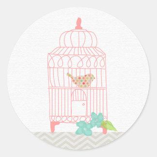 鳥かごの水玉模様の花のステッカー ラウンドシール