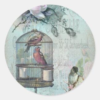 鳥かごの花 ラウンドシール