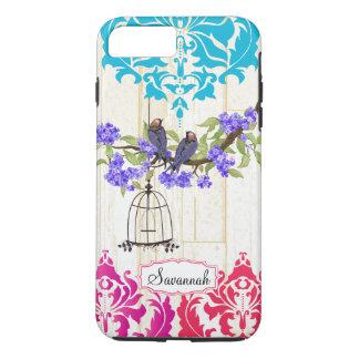 鳥かごの鳥のピンクの珊瑚の水のダマスク織のiPhoneの場合 iPhone 8 Plus/7 Plusケース