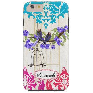 鳥かごの鳥のピンクの珊瑚の水のダマスク織のiPhoneの場合 Tough iPhone 6 Plus ケース