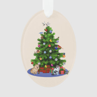 鳥が付いているメリークリスマスの木、猫、犬 オーナメント
