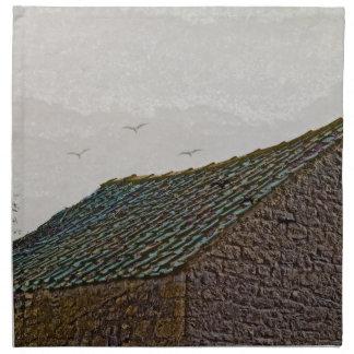 鳥が付いているヨークシャの農場の建物 ナプキンクロス