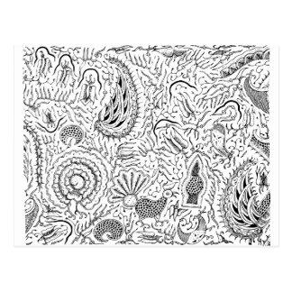 鳥が付いている抽象的なインドネシアの織物 ポストカード