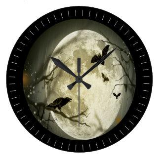 鳥が付いている気色悪い満月 ラージ壁時計