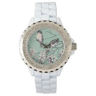 鳥が付いている花盛りの枝 腕時計