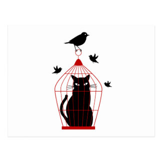鳥が付いている鳥かごの黒猫 ポストカード