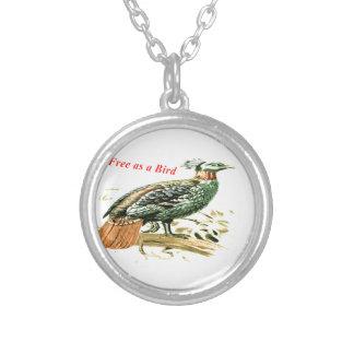 鳥として自由なキジのスケッチ シルバープレートネックレス