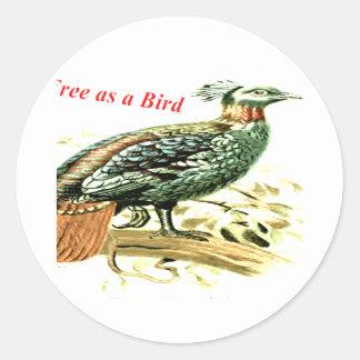 鳥として自由なキジのスケッチ ラウンドシール