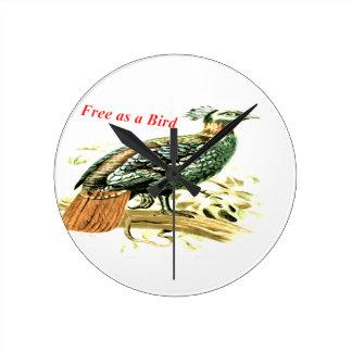 鳥として自由なキジのスケッチ ラウンド壁時計