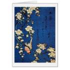 鳥と枝垂桜、北斎の鳥および泣く桜、Hokusai カード